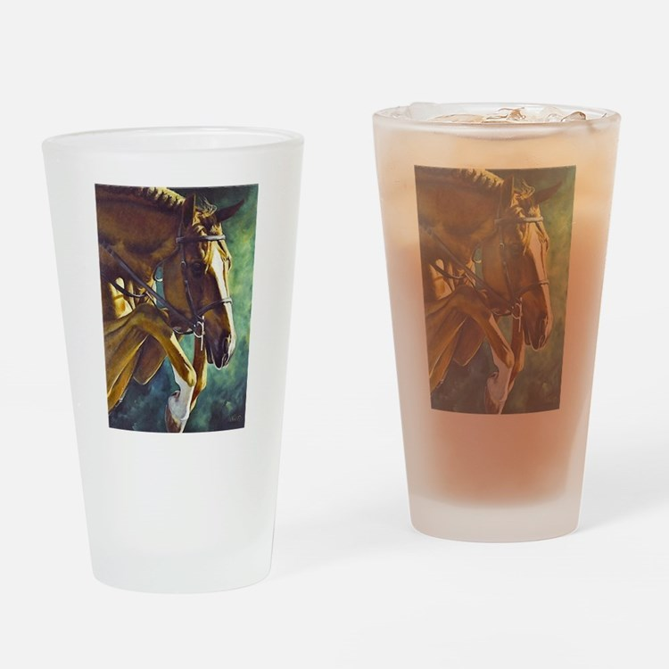 Cute Jumping horseback Drinking Glass