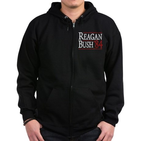 Reagan Bush 84 retro Zip Hoodie (dark)