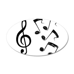 G-clef with Musical NOTES IV 22x14 Oval Wall Peel