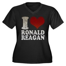 I love Ronald Reagan Retro Women's Plus Size V-Nec