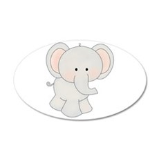 Cartoon Elephant 22x14 Oval Wall Peel