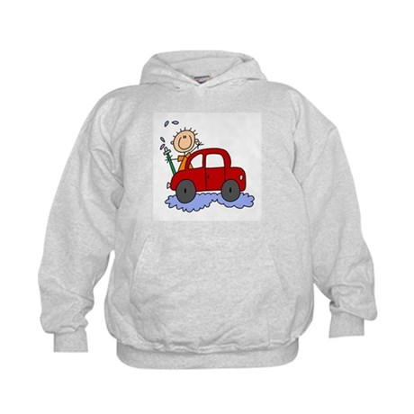Stick Girl Washing Car Kids Hoodie