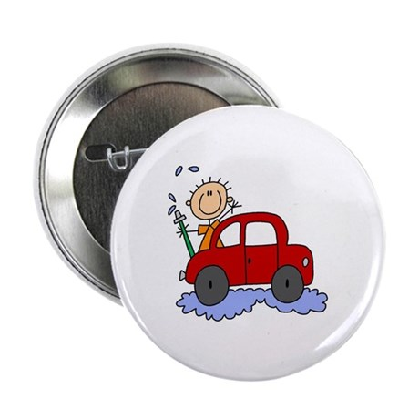 "Stick Girl Washing Car 2.25"" Button (100 pack)"