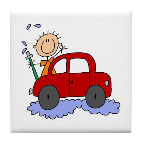 Stick Girl Washing Car Tile Coaster
