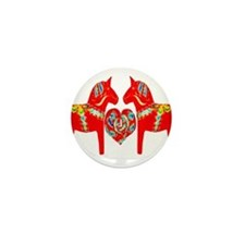Swedish Dala Horses Mini Button