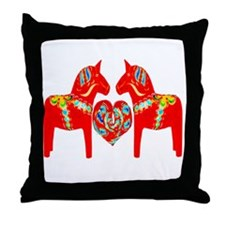 Swedish Dala Horses Throw Pillow