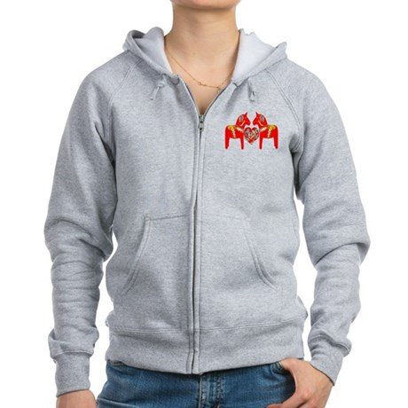 Swedish Dala Horses Women's Zip Hoodie