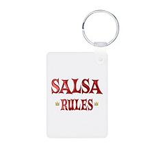 Salsa Rules Aluminum Photo Keychain