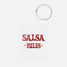 Salsa Rules Aluminum Photo Keychain