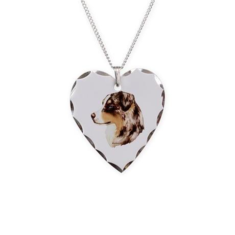 Australian Shepherd Necklace Heart Charm