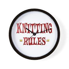 Knitting Rules Wall Clock