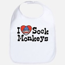 I Love Sock Monkeys Bib