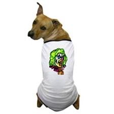 Evil Clown In Curled Wig Dog T-Shirt