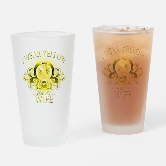 I Wear Yellow for my Wife (fl Drinking Glass