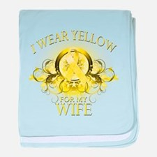 I Wear Yellow for my Wife (fl baby blanket