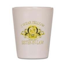I Wear Yellow for my Sister I Shot Glass