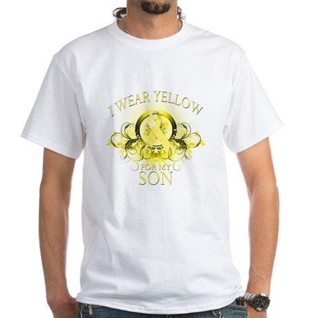 I Wear Yellow for my Son (flo White T-Shirt