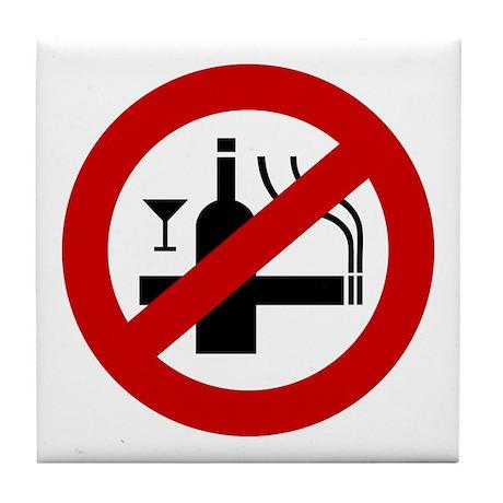 Funny NO Smoking Alcohol Sign Tile Coaster