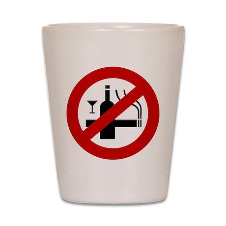 Funny NO Smoking Alcohol Sign Shot Glass