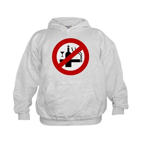 Funny NO Smoking Alcohol Sign Kids Hoodie