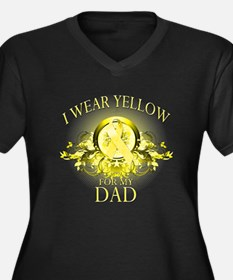 I Wear Yellow for my Dad (flo Women's Plus Size V-