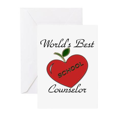 Worlds Best Teacher Apple counselor Greeting Cards