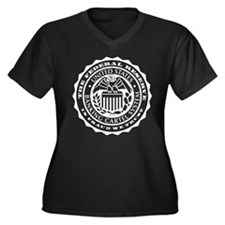 Federal Reserve Seal Women's Plus Size V-Neck Dark