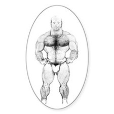 HAIRY MUSCLE BEAR_ Oval Decal
