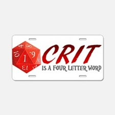 Four Letter Crit Aluminum License Plate