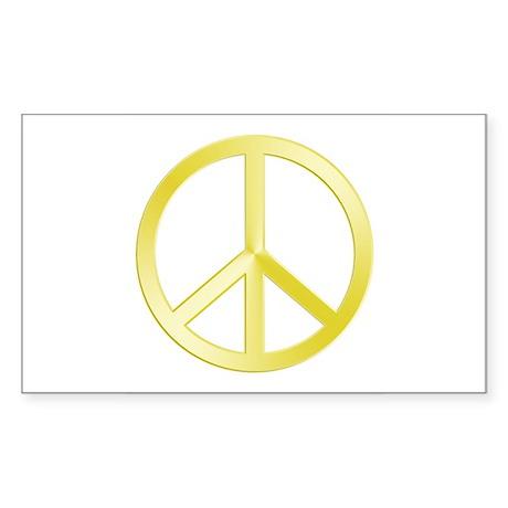 """Gold"" Peace Symbol Rectangle Sticker"