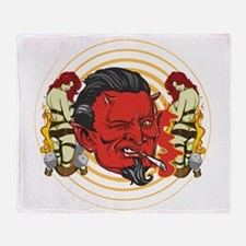 Smoking Devil Throw Blanket