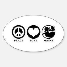 Peace Love Maine Oval Decal
