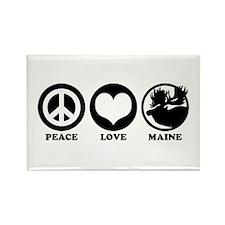Peace Love Maine Rectangle Magnet