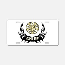 Fire Chief Tattoo Flames Aluminum License Plate