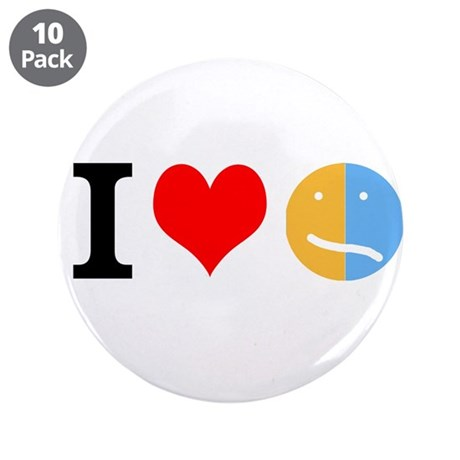 """I <3 Face 3.5"""" Button (10 pack)"""