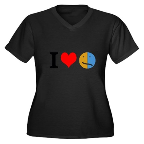 I <3 Face Women's Plus Size V-Neck Dark T-Shirt