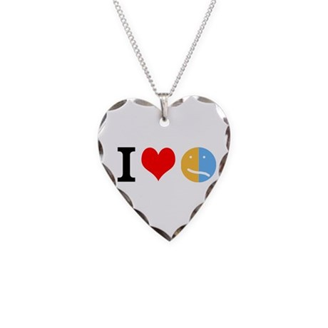 I <3 Face Necklace Heart Charm