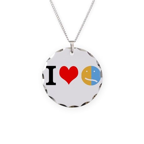 I <3 Face Necklace Circle Charm