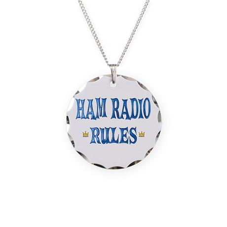 Ham Radio Rules Necklace Circle Charm