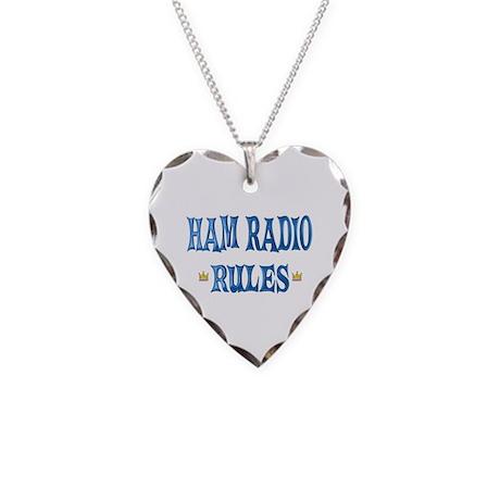 Ham Radio Rules Necklace Heart Charm