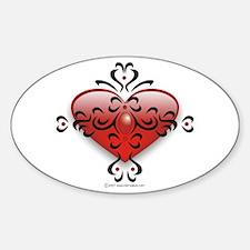 Heart and Tribal Tattoo Sticker (Oval)