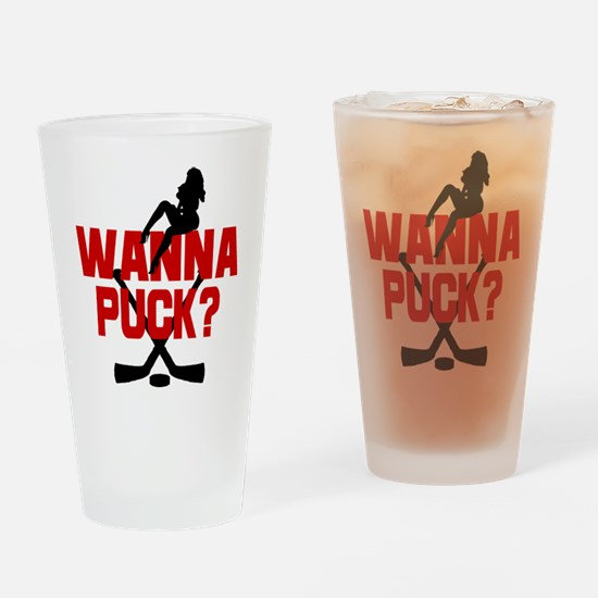 Wanna Puck? Drinking Glass