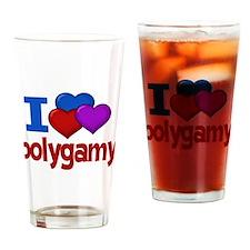 I Love Polygamy Drinking Glass
