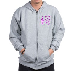 G-clef with Musical Notes VII Zip Hoodie
