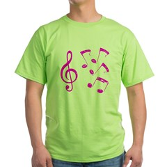G-clef with Musical Notes VII Green T-Shirt