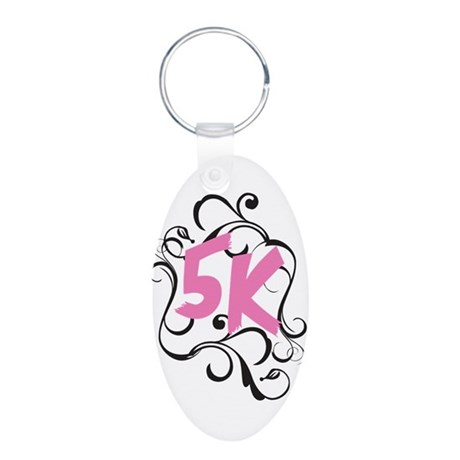 Fancy 5k Aluminum Oval Keychain