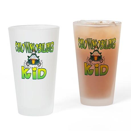 Snowmobiling Kid Drinking Glass