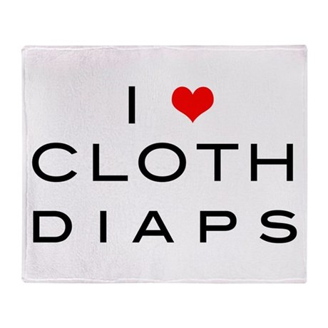 I <3 cloth diaps RED Throw Blanket