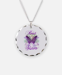 Best Sister Necklace Circle Charm