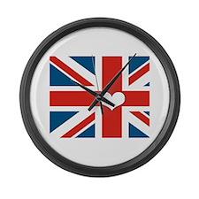 union jack love Large Wall Clock